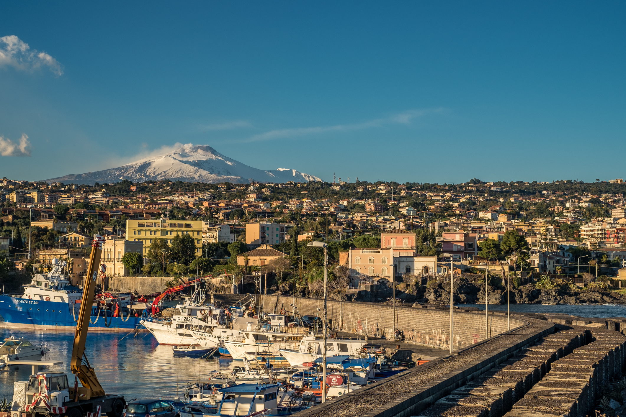 The Etna volcano viewed from Ognina.