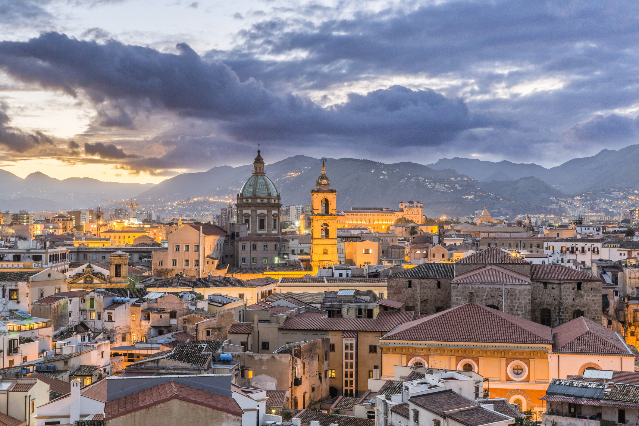 Evening view of Palermo skyline